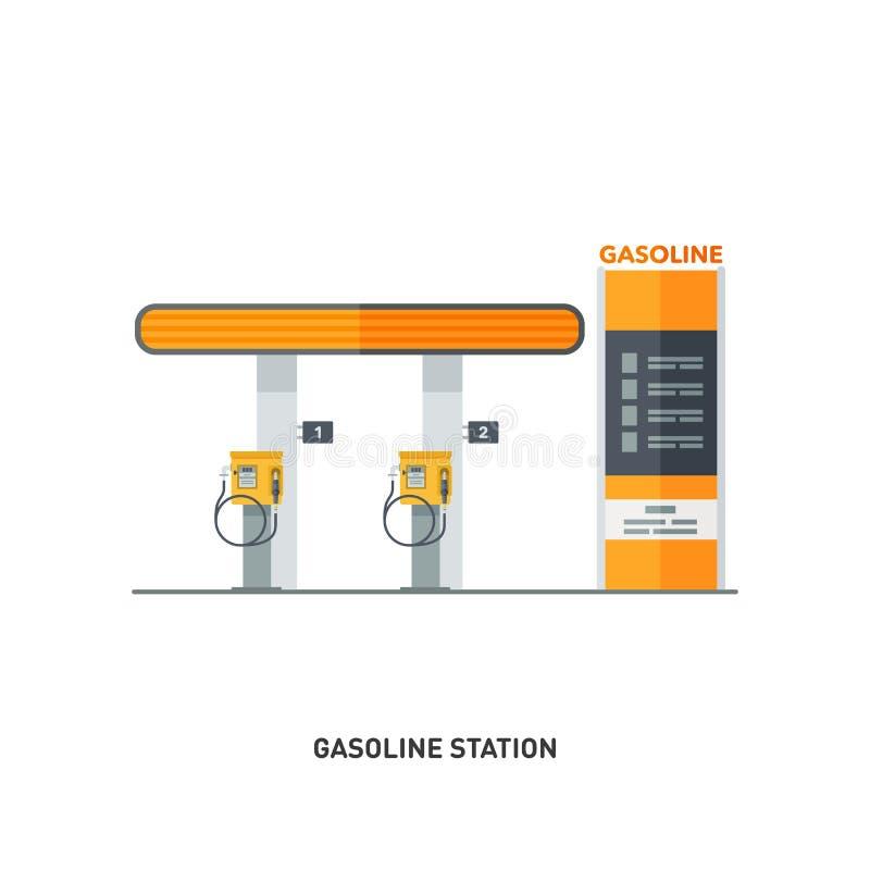 Una columna moderna de la gasolina Introduzca su coche ilustración del vector
