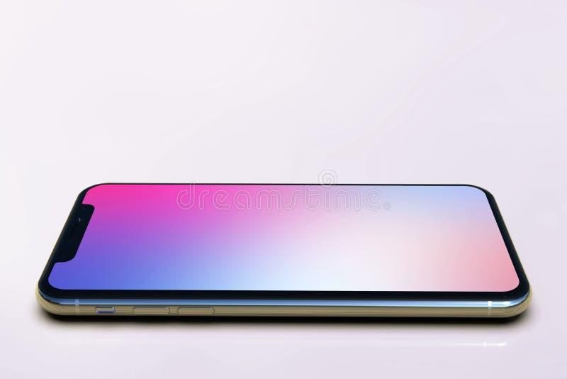 una composizione in 2 Smart Phone di iPhone XS, schermo porpora royalty illustrazione gratis