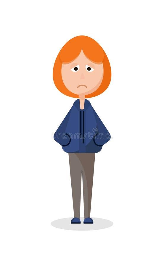 Una condizione triste della ragazza sola illustrazione vettoriale