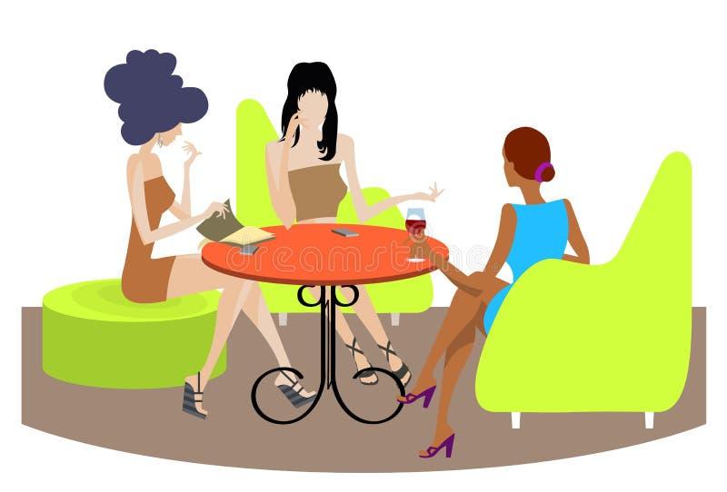 Una conversazione di tre ragazze royalty illustrazione gratis