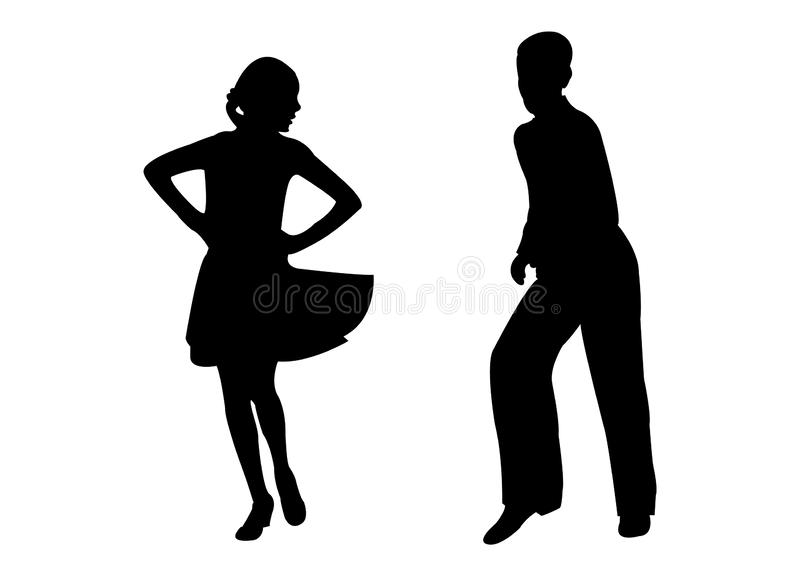 Una coppia che balla, vettore dell'adolescente della siluetta royalty illustrazione gratis