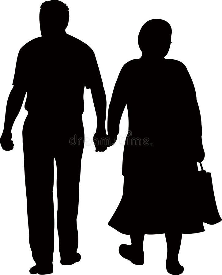 Una coppia che cammina lontano, vettore della siluetta royalty illustrazione gratis