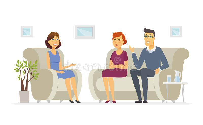 Una coppia che visita uno psicologo - il carattere della gente del fumetto ha isolato l'illustrazione royalty illustrazione gratis