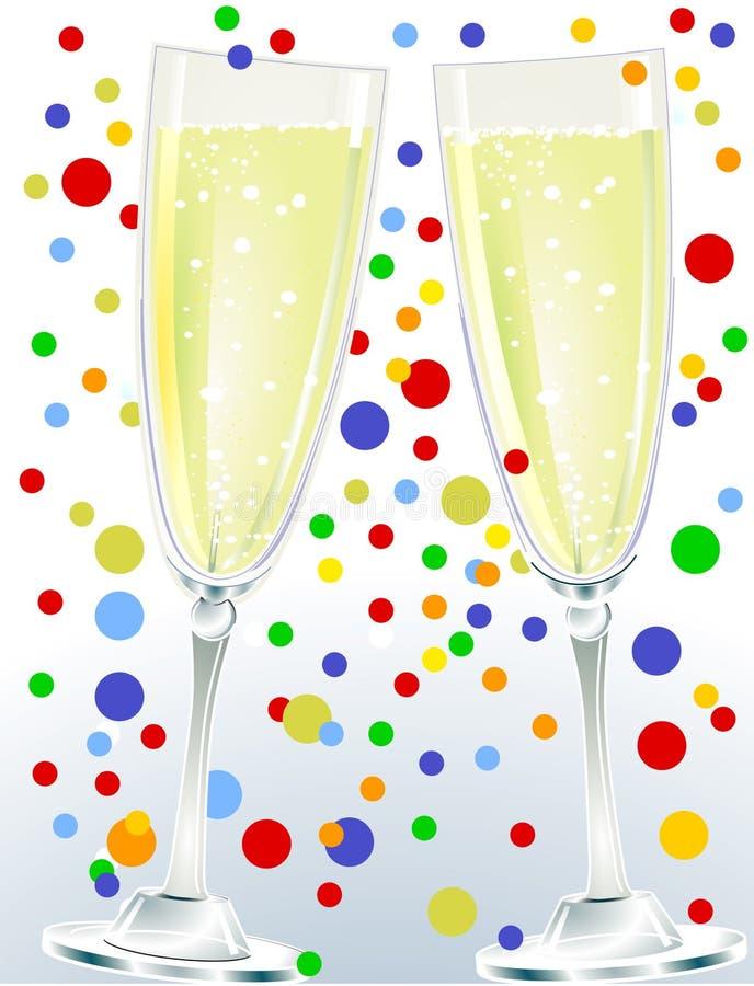 Una coppia di champagne illustrazione vettoriale