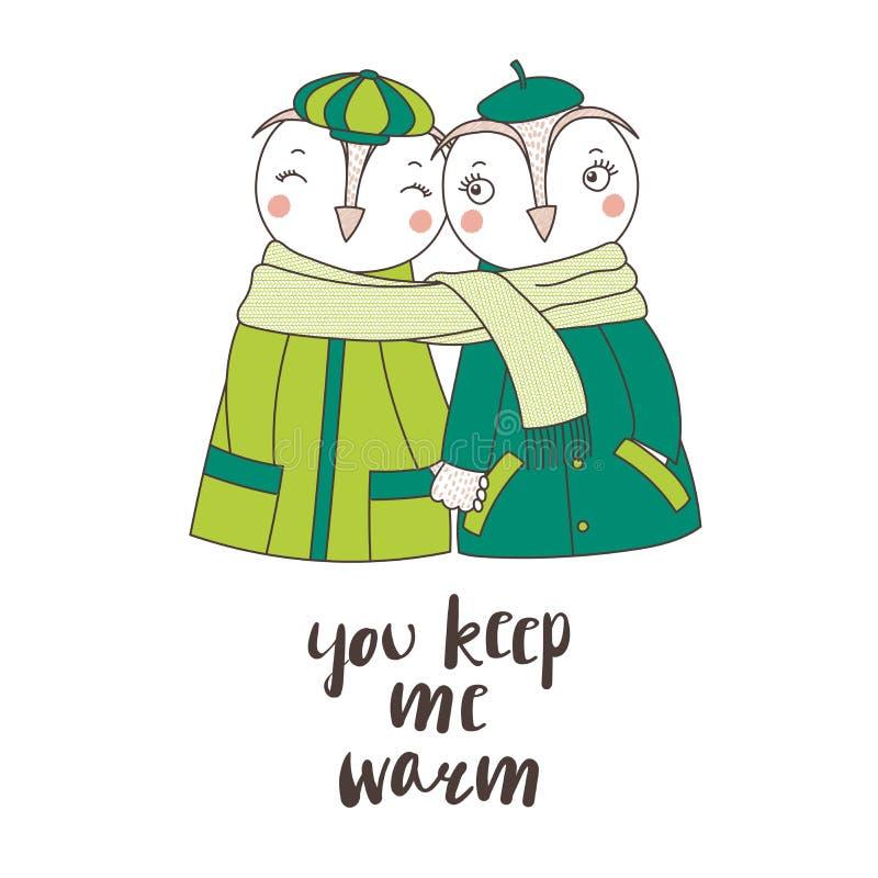 Una coppia di gufi avvolti in una sciarpa illustrazione di stock