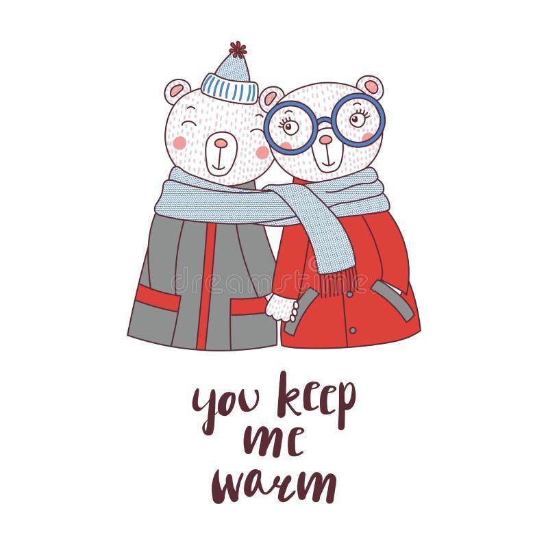 Una coppia di orsi avvolti in una sciarpa illustrazione di stock