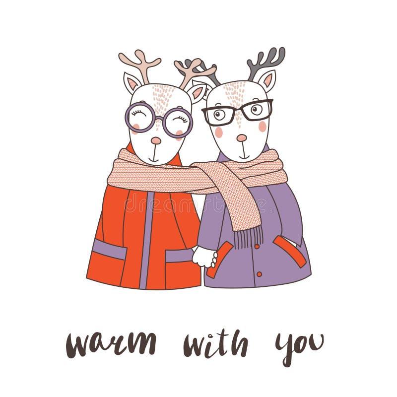 Una coppia di renne avvolte in una sciarpa illustrazione vettoriale