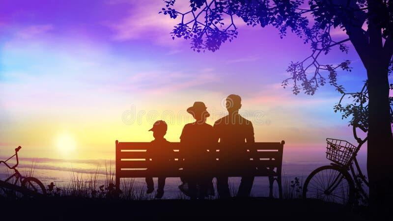 Una coppia e un bambino durante il giro della bici che riposa sotto l'albero che affronta l'oceano immagini stock libere da diritti