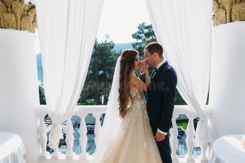 Una coppia sveglia delle persone appena sposate si bacia mani del ` s La sposa e lo sposo tengono i loro denti La sposa nel nero immagine stock