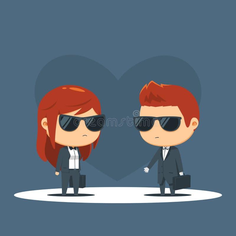 Una coppia vestita nel nero sta avendo un negoziato royalty illustrazione gratis