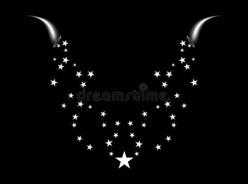 Una cornucopia tira una estrella blanca Los fuegos artificiales protagonizan la fuente al azar de flujo Estrella fugaz Estrellas  ilustración del vector