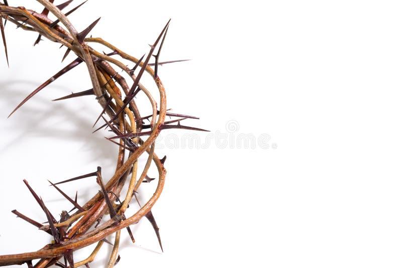 Una corona de espinas en un fondo blanco - Pascua Religión imagen de archivo libre de regalías