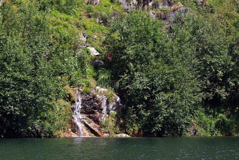 Una corriente de la montaña de corrientes claras en el lago imagenes de archivo