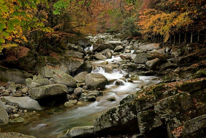 Una corriente en el moutain de Guangwu en otoño imagenes de archivo
