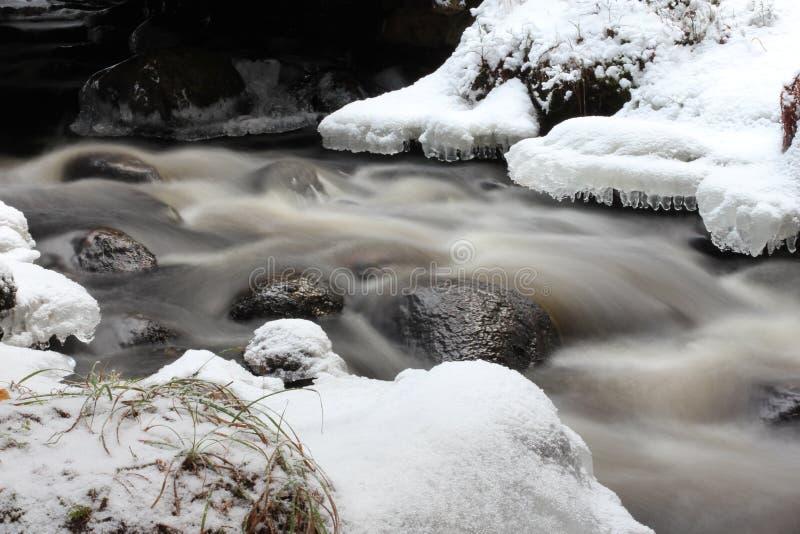 Una corriente en invierno imagenes de archivo