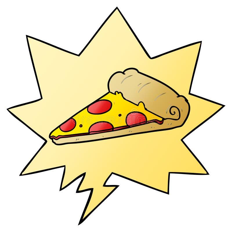 Una creativa porción de caricatura de pizza y burbuja del habla al estilo de gradiente suave libre illustration