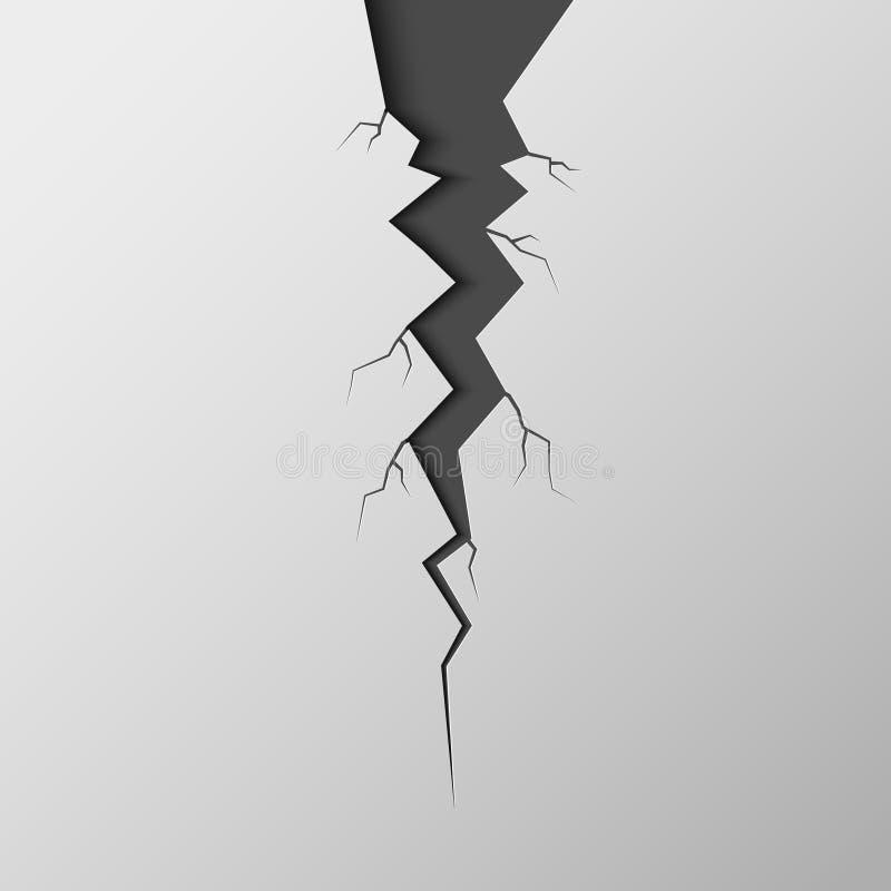 Una crepa è isolata su un fondo bianco Frattura di ghiaccio illustrazione di stock