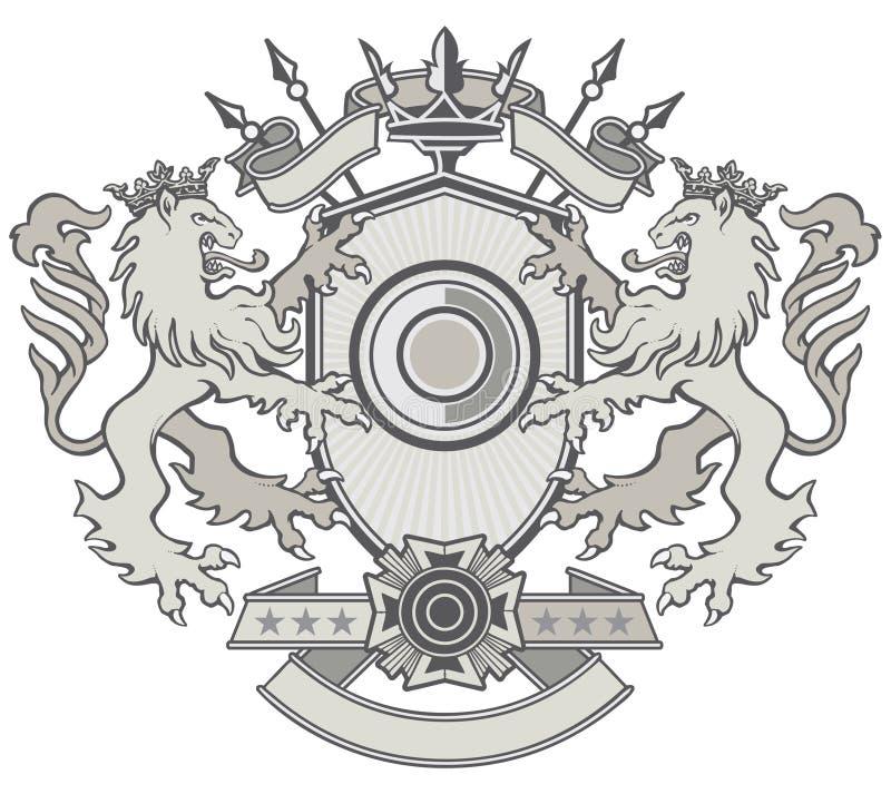Cresta del escudo del león ilustración del vector