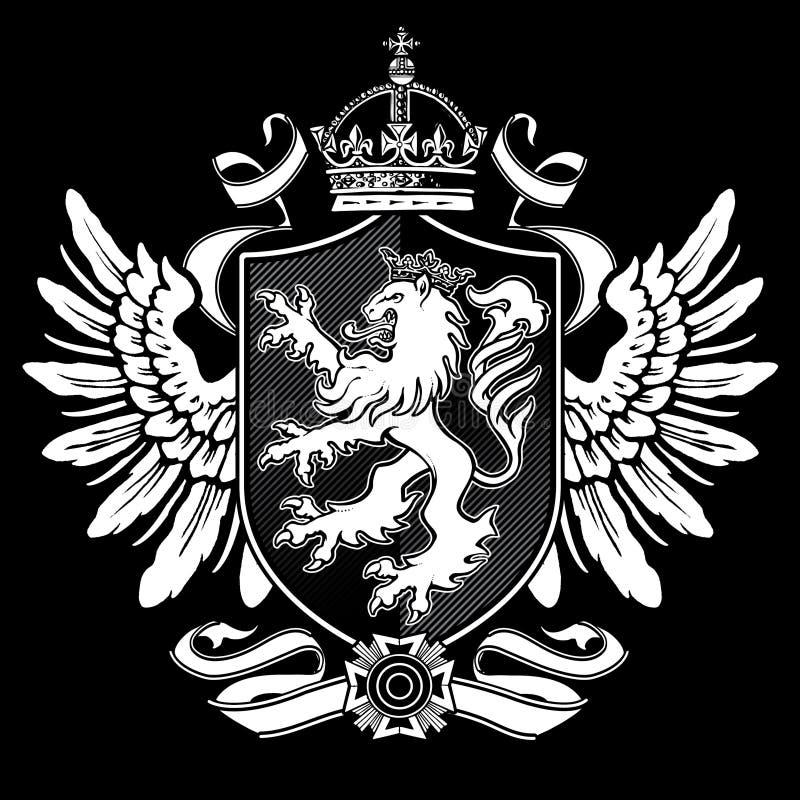 Cresta araldica dell'ala del leone sul nero illustrazione di stock