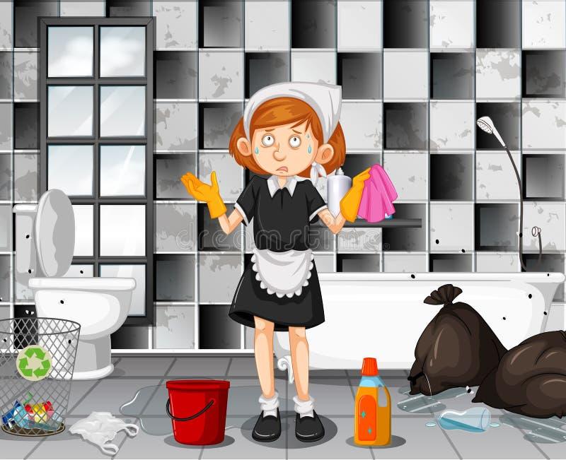 Una criada cansada Cleaning Bathroom ilustración del vector