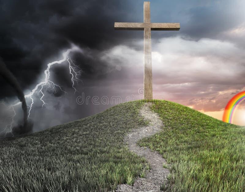 Una cruz en el concepto de la colina de salvación ilustración del vector