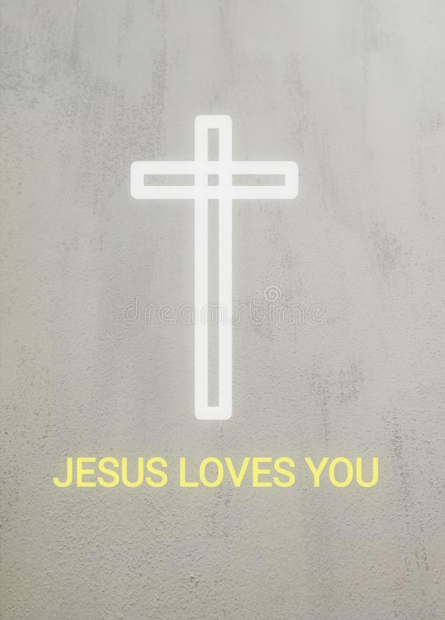 Una cruz y un texto blancos Jesús le ama ilustración del vector