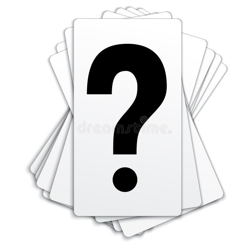 Una cubierta de tarjetas plásticas en blanco con el símbolo del signo de interrogación fotos de archivo