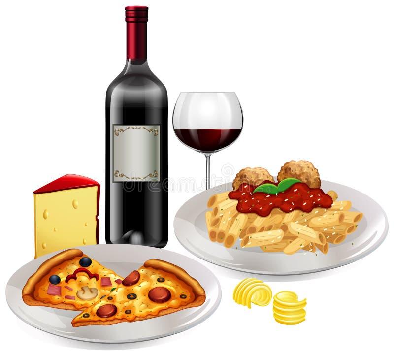 Una cucina italiana su fondo bianco illustrazione vettoriale