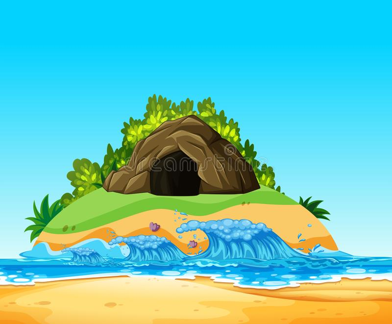 Una cueva del misterio en la isla stock de ilustración