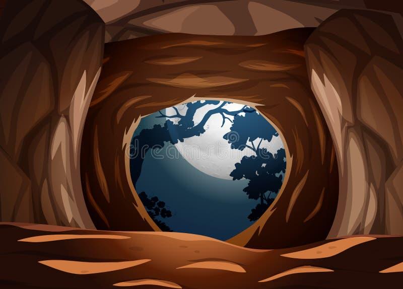 Una cueva en la noche oscura stock de ilustración