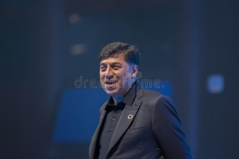 Una cumbre de mundo joven en Den Haag City The Netherlands 2018 Cumbre de Rakesh Kapoor Speeches At The fotografía de archivo libre de regalías