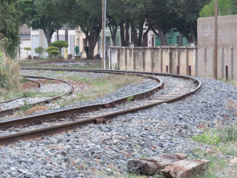 Una curva nella ferrovia fotografie stock