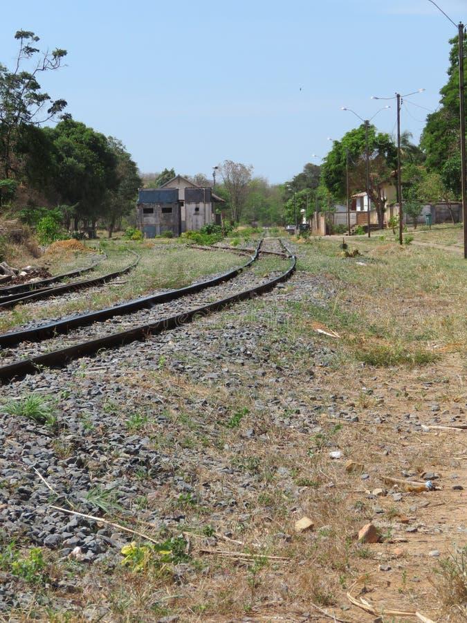 Una curva nella ferrovia fotografia stock