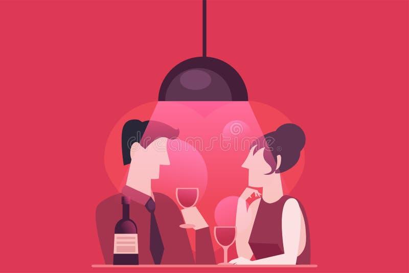 Una data veloce di una coppia nell'amore Cena di sera con vino illustrazione vettoriale