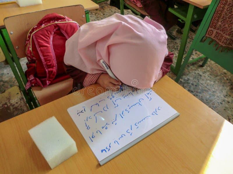 Una delle ragazze della scuola primaria in Rasht, provincia di Guilan, Iran Una scuola islamica in cui le ragazze dovrebbero port immagine stock libera da diritti
