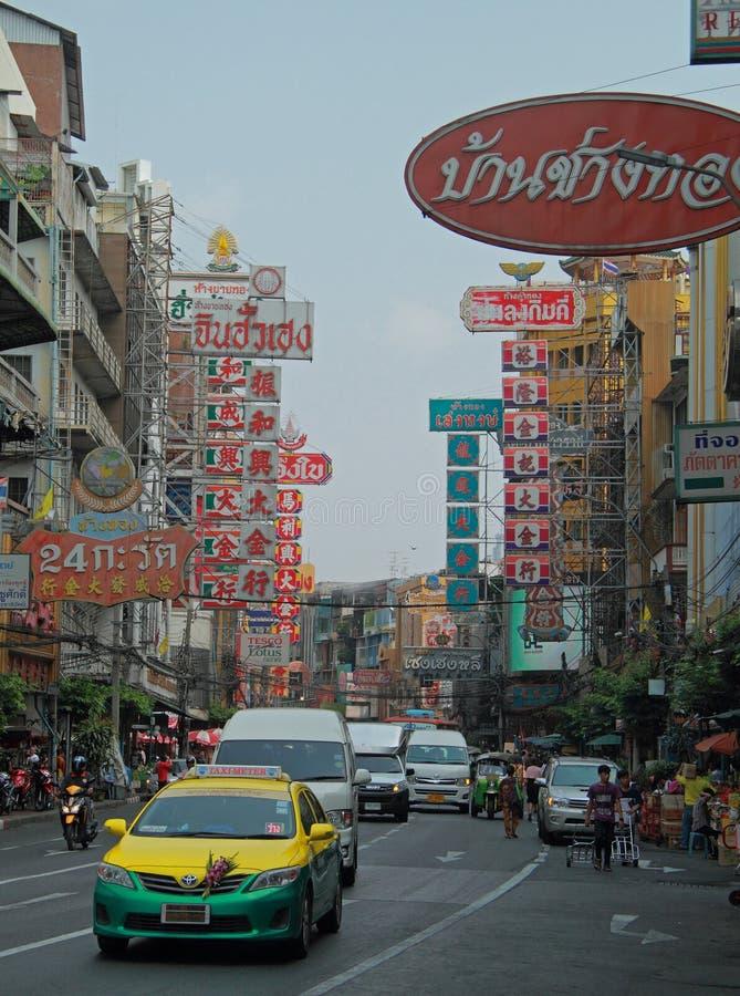 Una delle vie nel quarto cinese, Bangkok immagine stock libera da diritti