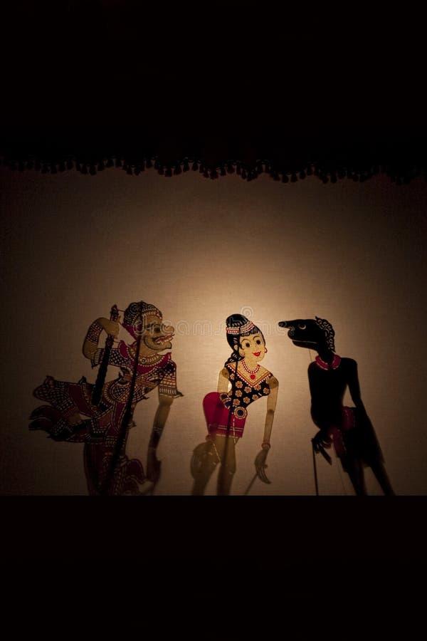 Una demostración de marioneta malasia tradicional de la sombra imagen de archivo libre de regalías
