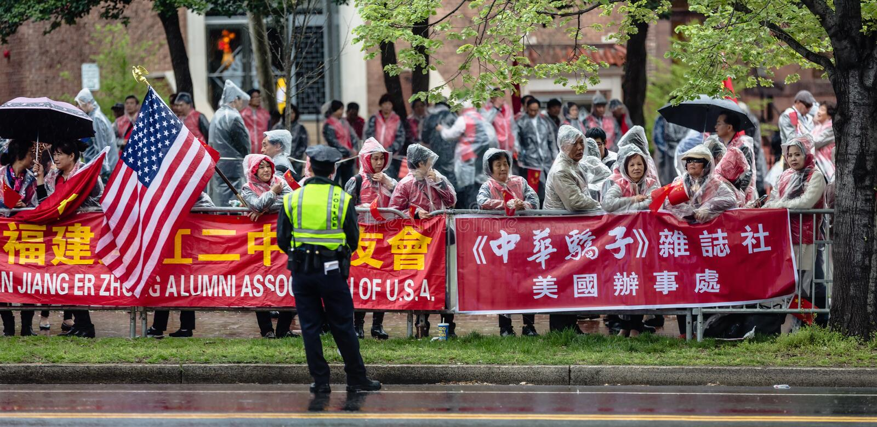 Una demostración pacífica de activistas chinos en Washington fotografía de archivo libre de regalías