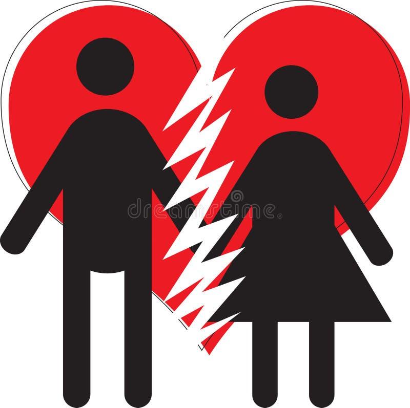 Una desintegración del divorcio de la pareja de matrimonios de la mujer del hombre ilustración del vector