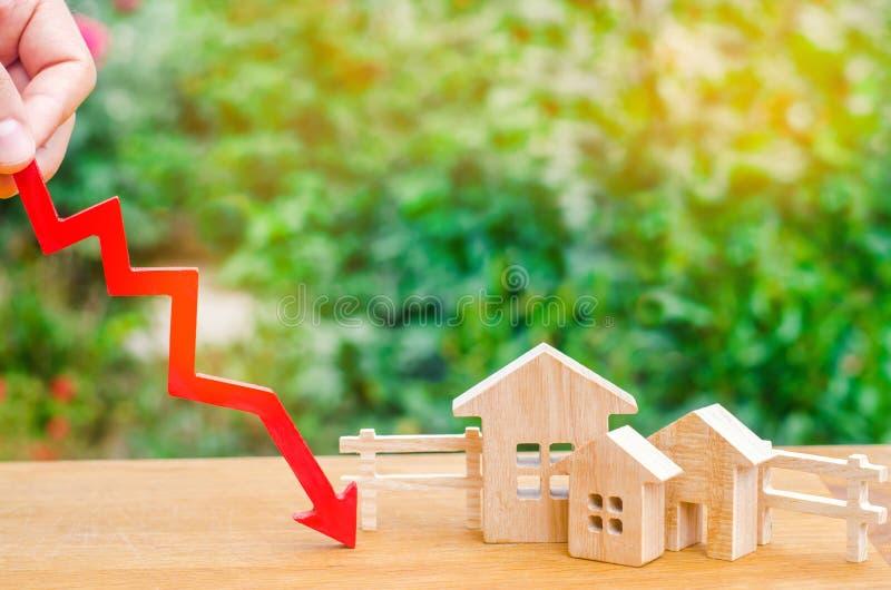 Una disminución en precios de la propiedad disminución de la población interés descendente en la hipoteca reducción en la demanda foto de archivo libre de regalías