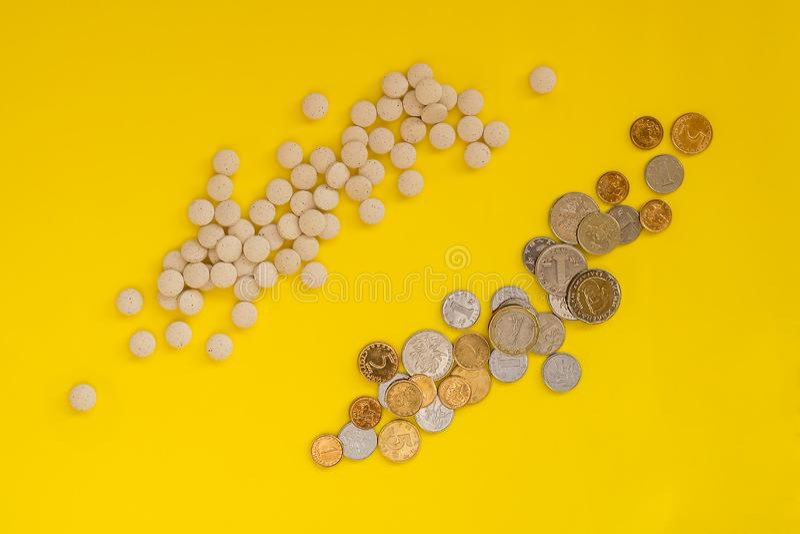 Una dispersión de píldoras cerca de un placer de monedas en un fondo amarillo El concepto del alto coste de drogas médicas Endech fotografía de archivo libre de regalías