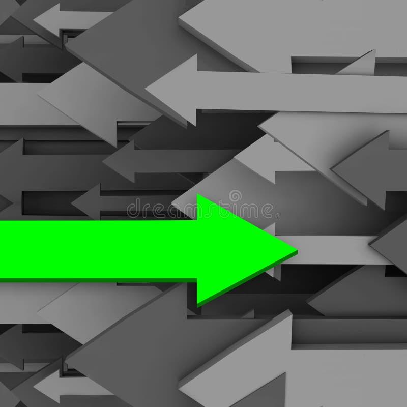 Una diversa flecha enfrente de la dirección del grupo ilustración del vector