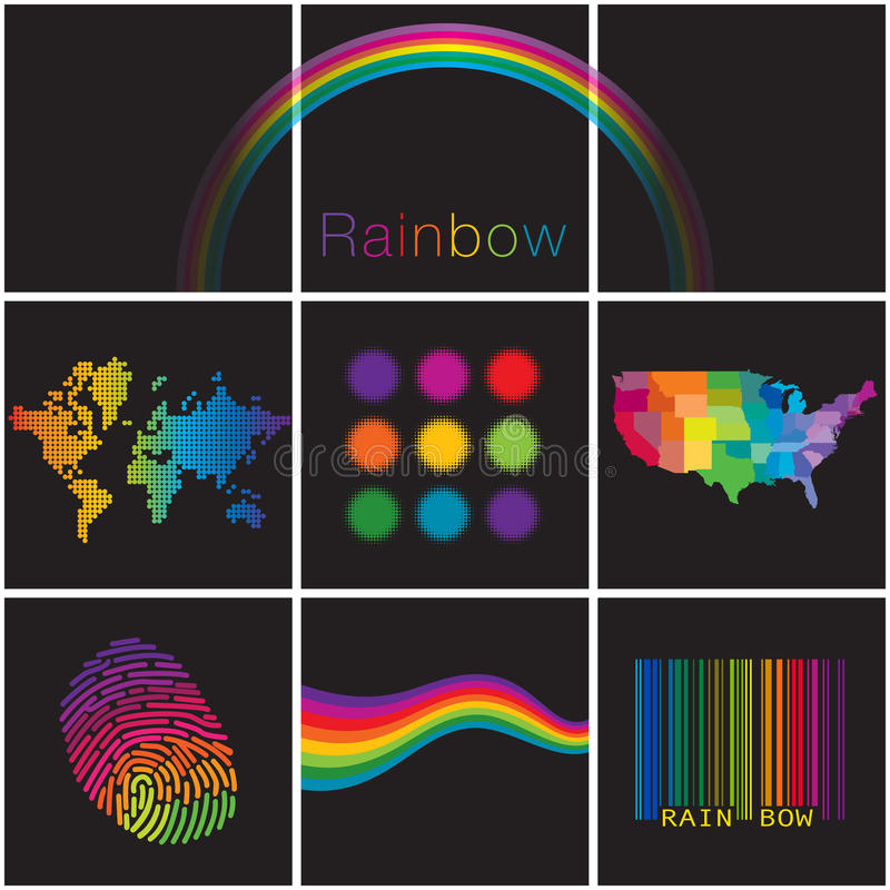 Una diversa selezione variopinta degli arcobaleni creativi royalty illustrazione gratis