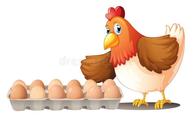 Una docena de huevos en una bandeja y la gallina libre illustration