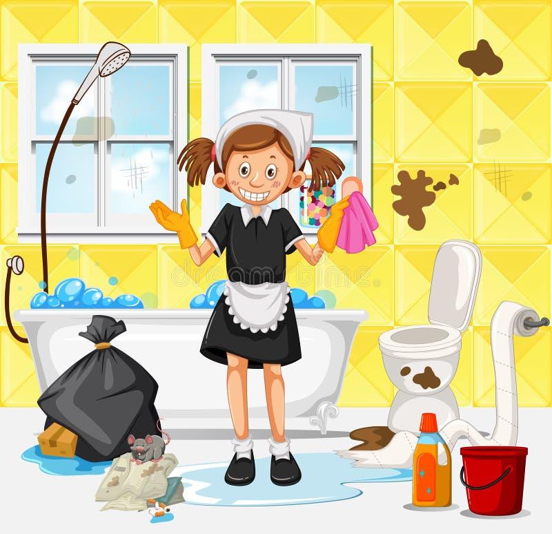Una domestica Cleaning Dirty Bathroom illustrazione vettoriale