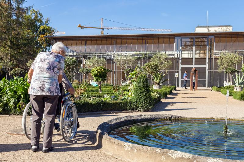 Una donna anziana che cammina nel parco del suo marito disabile fotografia stock libera da diritti