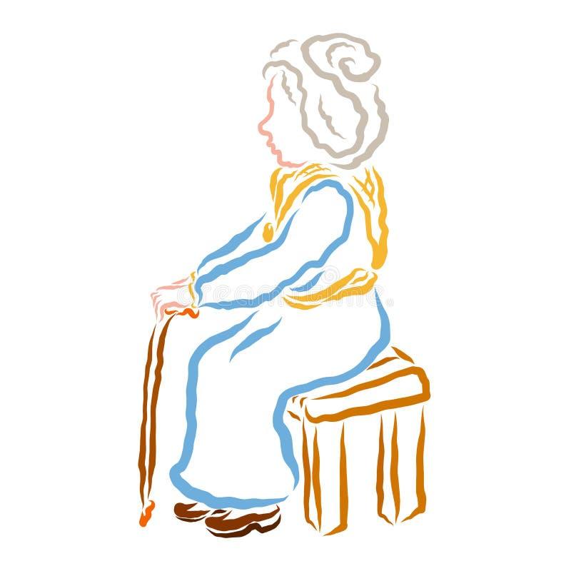 Una donna anziana con una seduta del bastone da passeggio o della gruccia su un banco o su una sedia illustrazione di stock