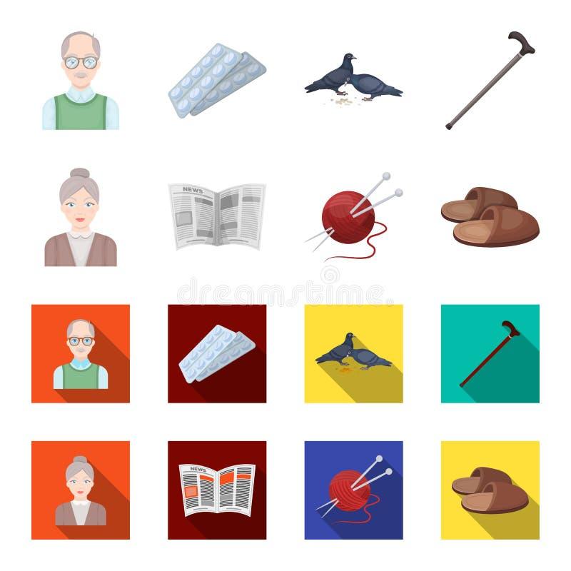 Una donna anziana, pantofole, un giornale, tricottante Icone stabilite della raccolta di vecchiaia nel fumetto, azione piane di s illustrazione di stock
