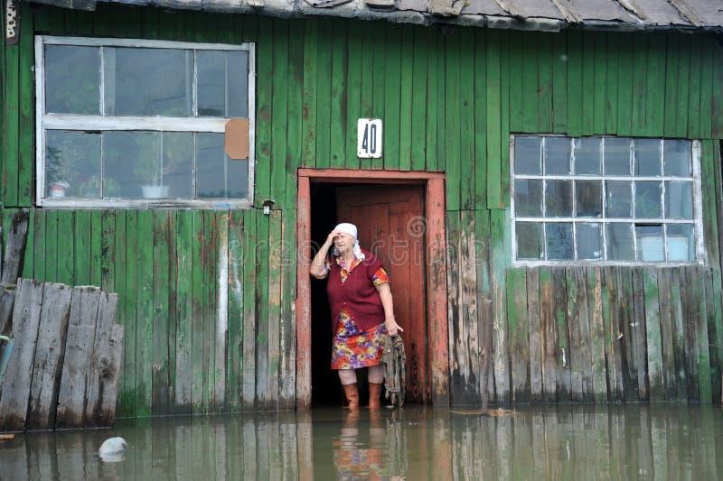 Una donna anziana sconosciuta nella sua casa durante l'inondazione L'Ob', che ha uscito dalle banche, ha sommerso le periferie de immagini stock