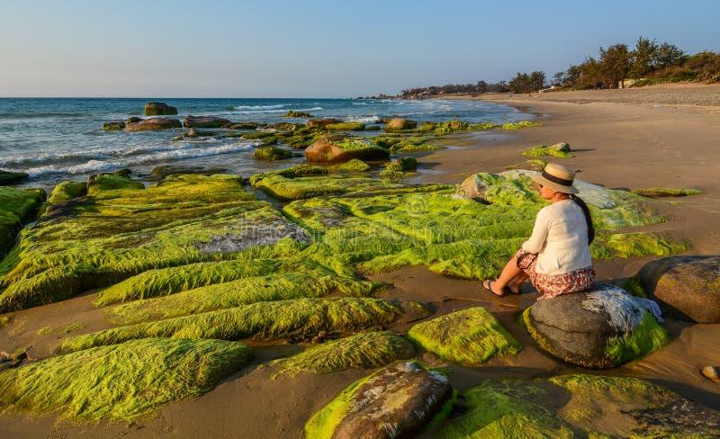 Una donna che gode sulla spiaggia immagini stock